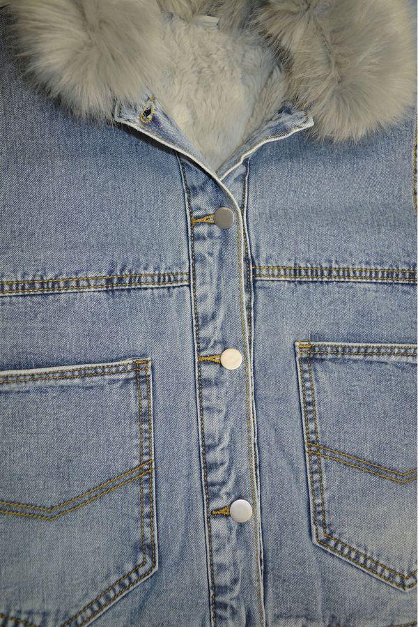 Куртка женская LRZBS 1950 (серый ворот) утепленная - фото 3