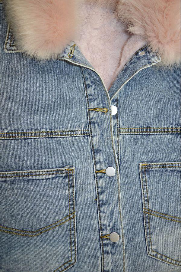Жакет женский (джинсовка) LRZBS 1950 (розовый ворот) утепленный - фото 3