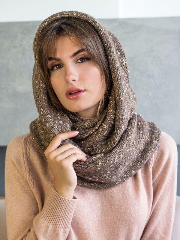 Снуд женский Mira Adriana 8.717-5 коричневый меланж - фото 1