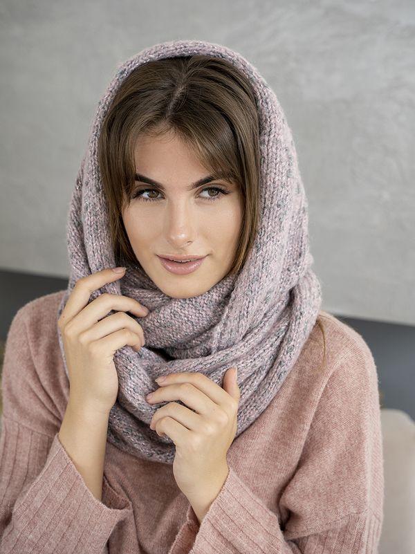 Снуд женский Mira Adriana 8.717-7 розовый/серый меланж - фото 1